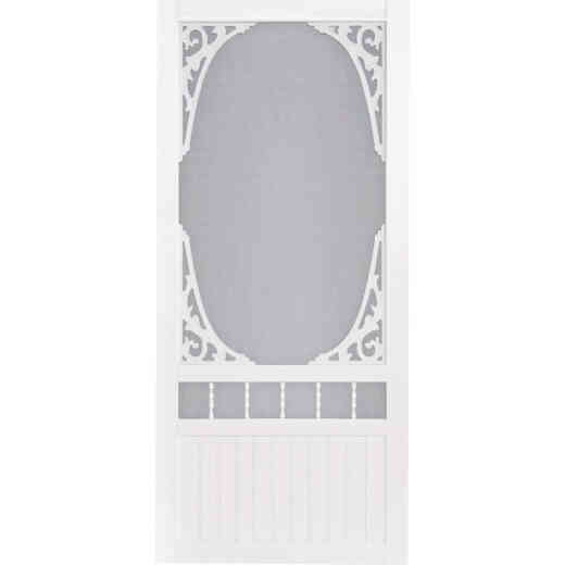 Screen Tight Springview 36 In. W x 80 In. H x 1 In. Thick White Vinyl Screen Door
