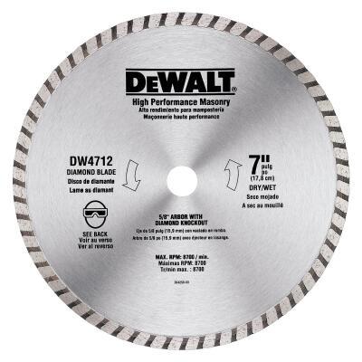 DeWalt High Performance 7 In. Turbo Rim Dry/Wet Cut Diamond Blade, Bulk