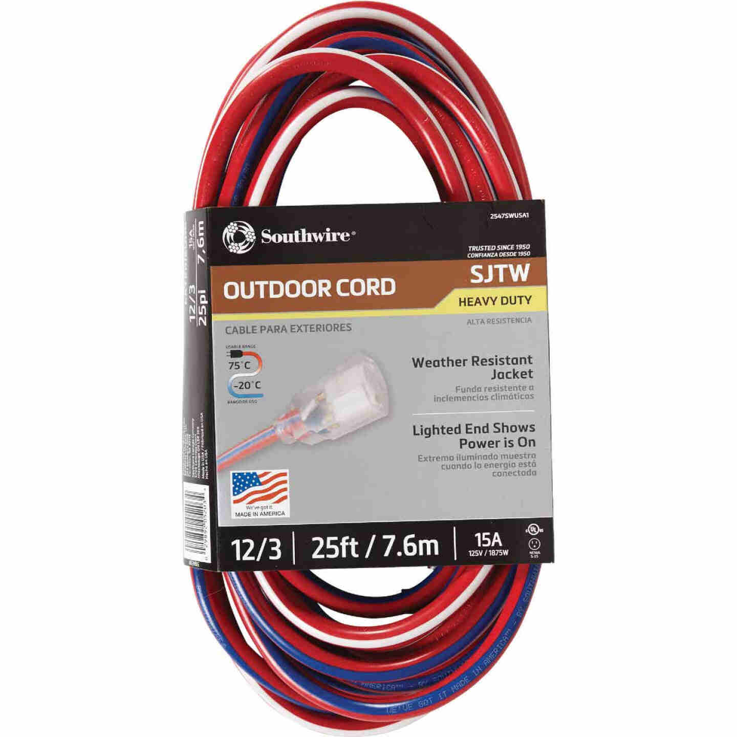 Southwire 25 Ft. 12/3 Indoor/Outdoor Red, White, & Blue Striped Patriotic Extension Cord Image 1