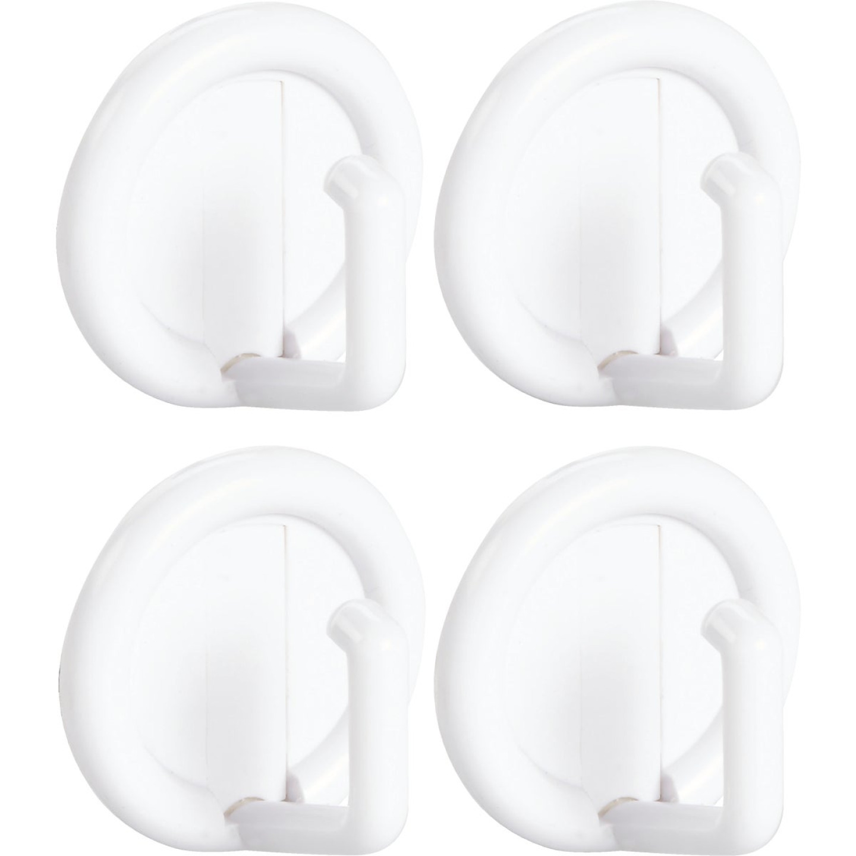 InterDesign Axis Utility Round White Adhesive Hook Image 1