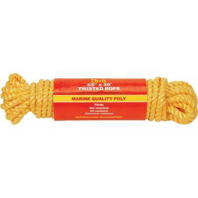 Do it 3/8 In. x 50 Ft. Yellow Twisted Polypropylene Packaged Rope